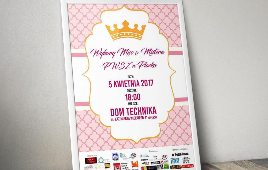 Plakat promujący Wybory Miss i Mistera PWSZ  w Płocku