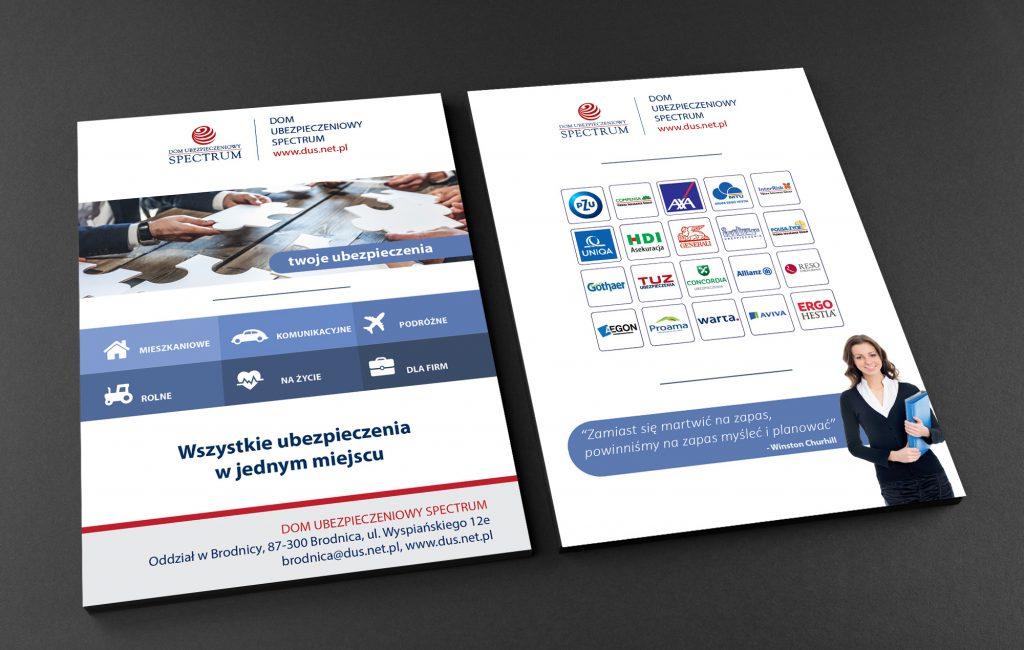 Wizualizację nowych materiałów reklamowych dla Domu ubezpieczeniowego Spectrum